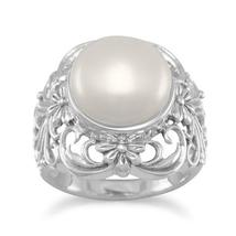 Sterling Silver Ornate Cultured Freshwater Pearl  Ring - $59.99