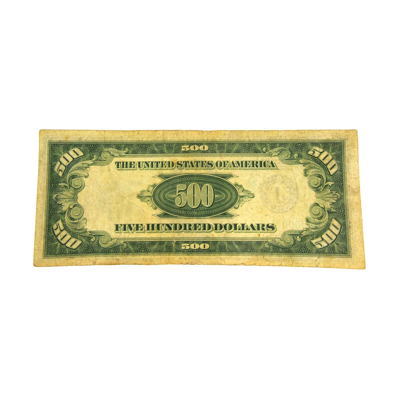 1934 $500 Federal Reserve Note Five hundred  Dollar J image 2