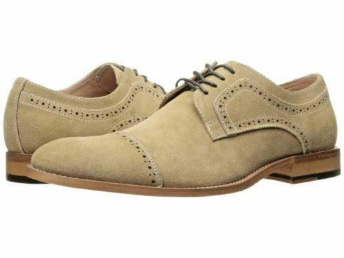 Handmade Men's Tan Suede Two Tone Brogues Style Oxford Shoes