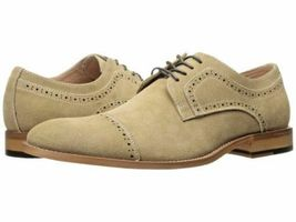 Handmade Men's Tan Suede Two Tone Brogues Style Oxford Shoes image 1