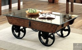 Industrial Glass Top Coffee Table Wheeled Wood Metal Rustic Country Livi... - €638,64 EUR