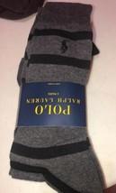 Polo Ralph Lauren Socks 3 Pair Pack Striped & Solid Socks Men 10-13 Charcoal NEW - $14.25