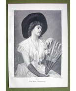 LOVELY LADY Holding Fan Pensive - VICTORIAN Era Print Engraving - $12.15
