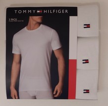 3 TOMMY HILFIGER MENS COTTON WHITE CREW NECK S M L XL XXL T-SHIRTS UNDER... - $26.63