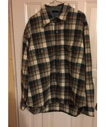 vintage 1970s Sears Jeans Joint CPO jacket green rust & white plaid virg... - $29.70