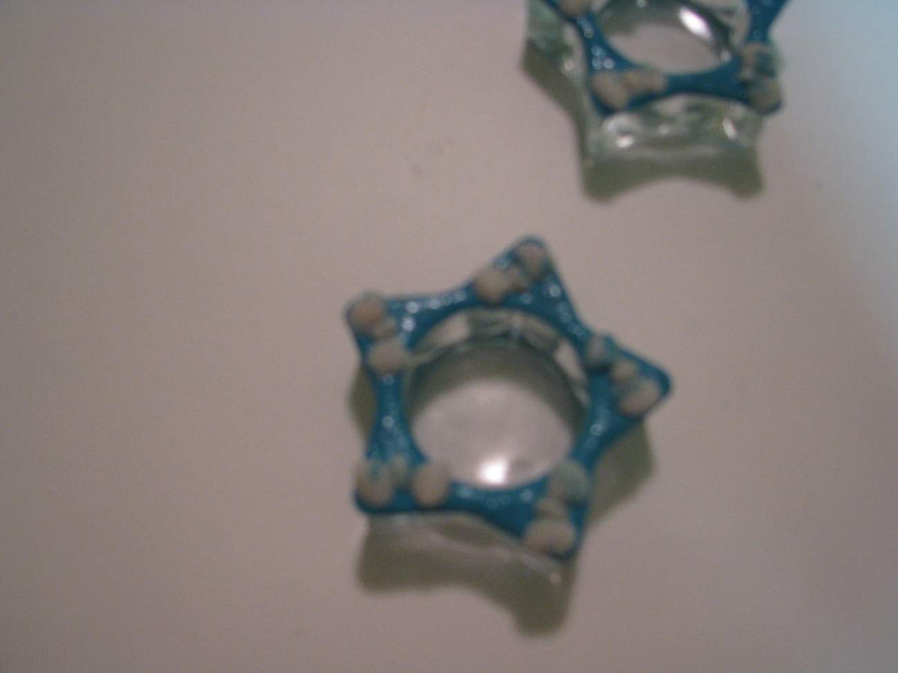 Turquoise and White Polymer Clay Tealite Holders
