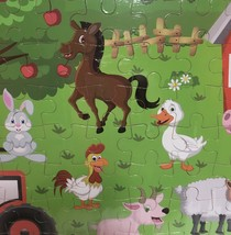 """Hands Craft Wood Frame Farm Animals Jigsaw Puzzle 80 Piece 9"""" x 12"""" Ages 5+ image 3"""
