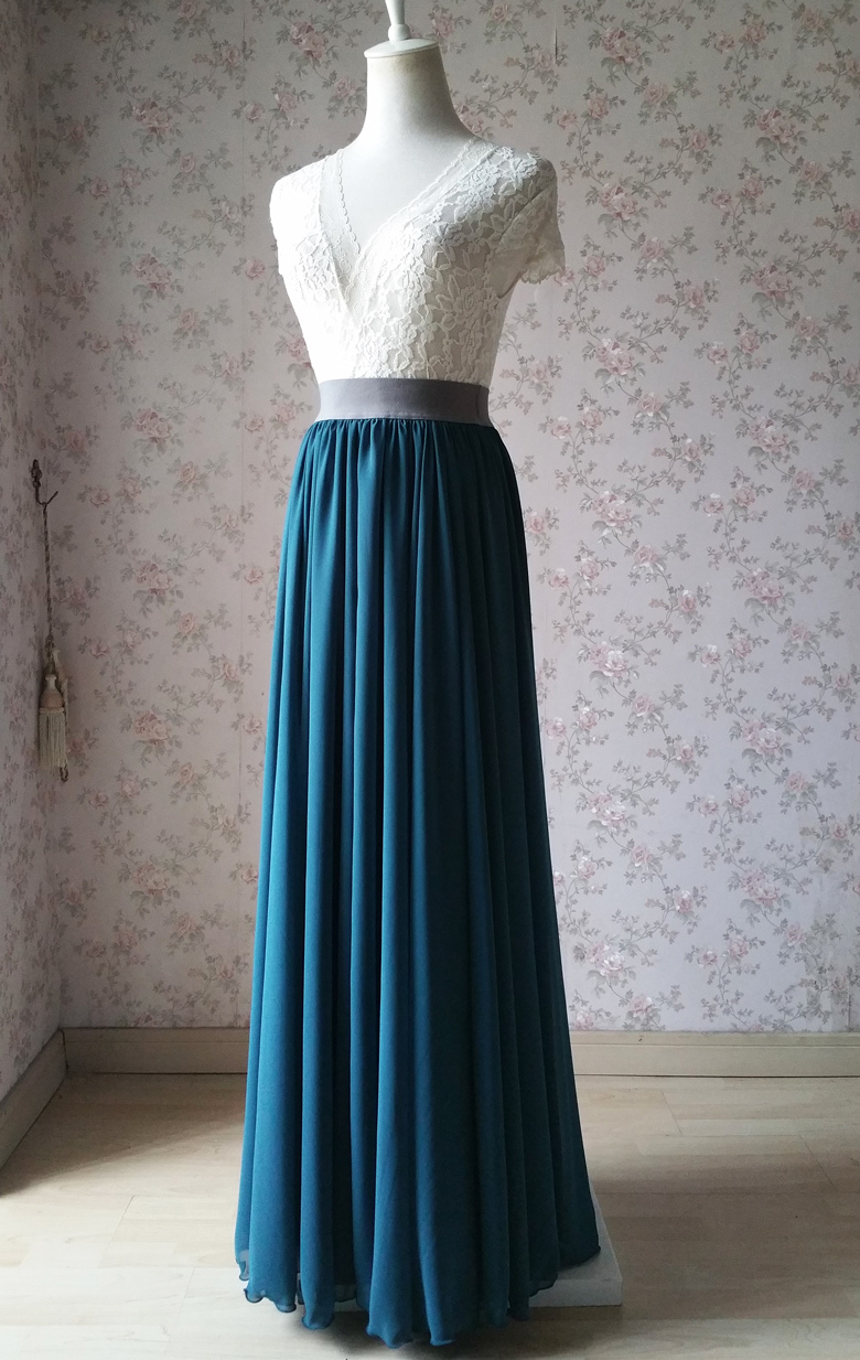 Women maxi chiffon skirt bluegreen 1