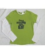 I'm a Naughty Little Elf Green Tee  Sz 7-9 (Med) - $9.99