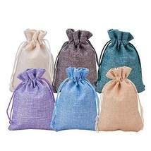 BENECREAT 30Pack 6 Color Burlap Bags with Drawstring Gift Bags Jewelry P... - $15.03