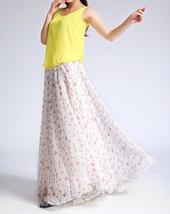 Summer MAXI Floral SKIRT Women White Flower Maxi Chiffon Skirt Long Beach Skirt image 5