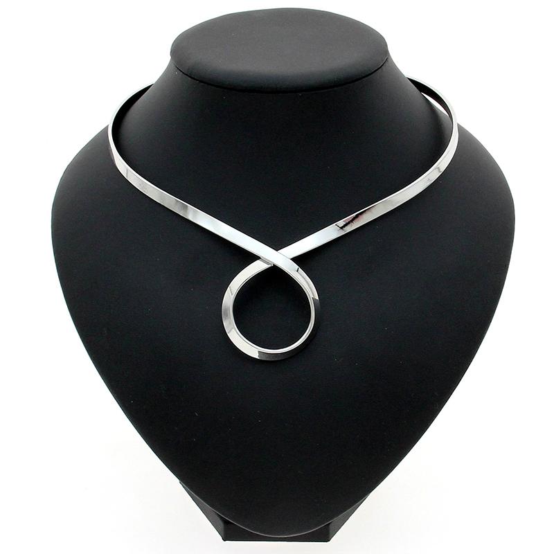 MANILAI Unique Chic Alloy Choker Necklace For Women Fashion Torques Bib Collar S