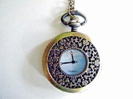 Vintage Style Pocket Watch Necklace Gold Tone Ornate Quartz Battery Incl... - $19.75