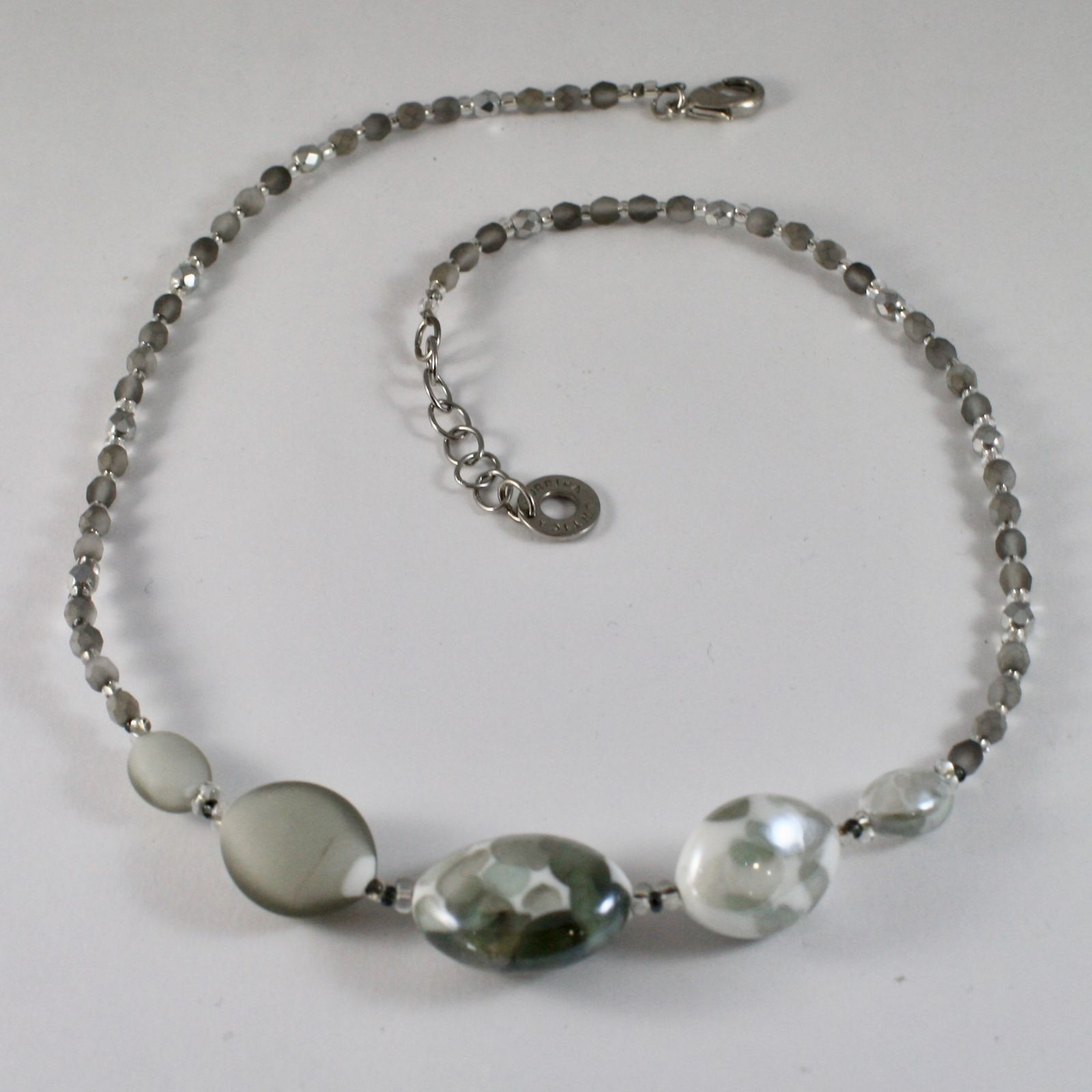NECKLACE ANTIQUE MURRINA VENICE WITH MURANO GLASS ADJUSTABLE, GRAY AND WHITE
