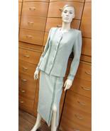 CLASSIC OFFICE SKIRT SUIT European Sage Wool Mid-Calf Skirt Set Button J... - $149.00