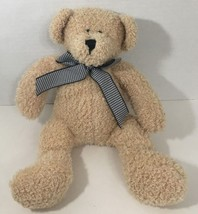 Animal Adventure soft Teddy Bear tan black white houndstooth bow ribbon - $19.79