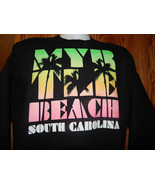 MYRTLE BEACH SOUTH CAROLINA SWEATSHIRT~SIZE XL~BLACK WITH PASTEL DESIGN~... - $24.70