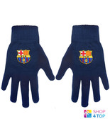 FC BARCELONA KNITTED NAVY GLOVES WINTER WARM SPORT OFFICIAL FOOTBALL SOC... - $11.18