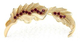 VTG 1950's CROWN TRIFARI Signed Red Rhinestone Flower Leaf Brooch Pin - $49.50
