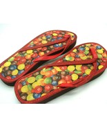 M&M's Chocolate Candy Ruby Red Sparkle Glitter Flip Flops Large Size Siz... - $12.19