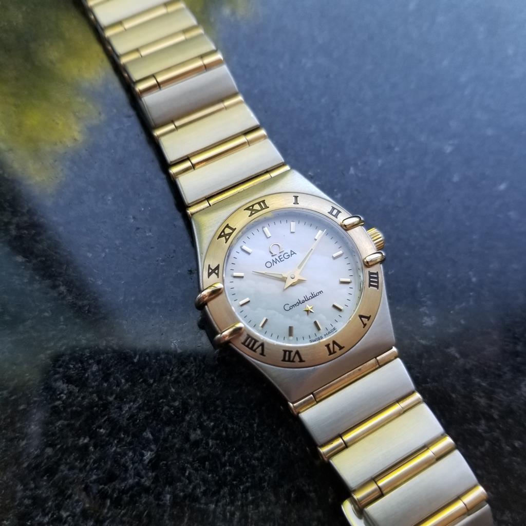 OMEGA Ladies Constellation 14K & SS MOP Dial Dress Watch, c.1990s Swiss MA80
