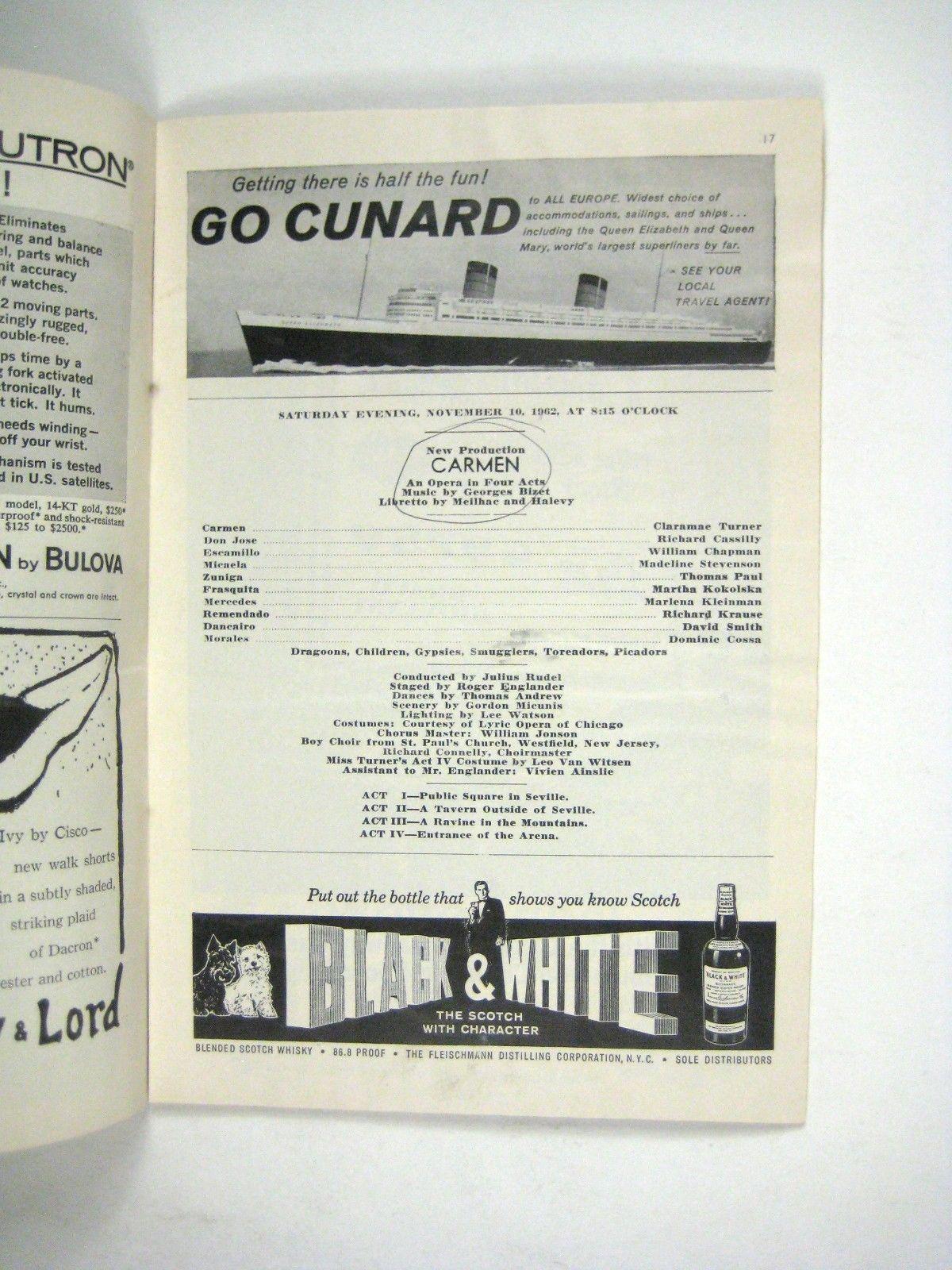 Carmen Merry Widow Opera Playbill 1962 Ticket City Center Corvette Ad Figaro