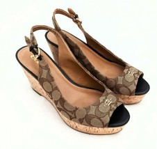 Coach Ferry Peep Toe Slingback Shoes Size 7.5 Excellent Condition - $79.61