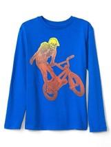 Gap Kids Boys T-shirt 6 7 Blue Long Sleeve Crew Neck Graphic Cotton Skel... - $14.99