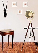 "72"" Designer Hollywood Chrome Finish Wooden Tripod Floor Lamp Search Light  - $289.00"