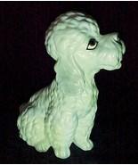 "Vintage Lefton China Porcelain Poodle Dog Figurine 4"" White Puppy Sitting  - $9.95"