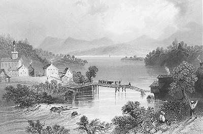 Primary image for CANADA Outlet of Lake Memphremagog - Steel Engraving Print