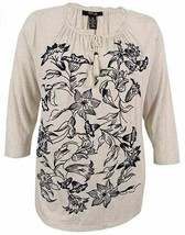 Style&Co Top Tee Shirt Ivory Gray Size 1X Plus Navy Floral Tie NEW RL136 - $36.26
