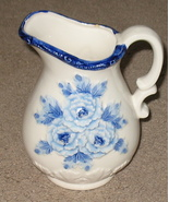 Japan  Pitcher Blue Floral Vintage - $14.99