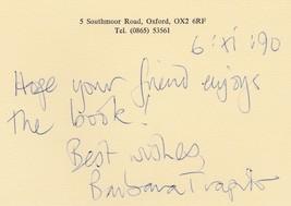 Barbara Trapido - hand written card signed. British novelist - $20.00