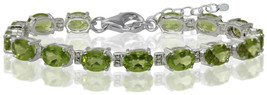 13.05ct. Natural Peridot 925 Sterling Silver 6-7.5' Adjustable Tennis Br... - $246.58