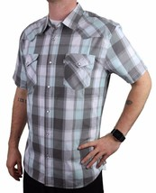 Levi's Men's Cotton Casual Button Up Short Sleeve Shirt Plaid Gray 3LYLW6082 image 2