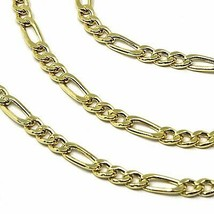 9K GOLD CHAIN FIGARO GOURMETTE ALTERNATE 3+1 FLAT LINKS 3mm, 50cm, 20 INCHES image 2