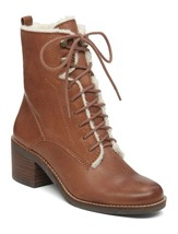 NEW LUCKY BRAND BROWN LEATHER FAUX SHEARLING BOOTS SIZE 8.5 M $139 - $75.99