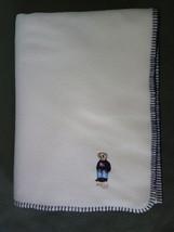 """Lauren Ralph Lauren Embroidered Bear Fleece Throw Blanket Beige 54"""" x 72"""" - $19.35"""