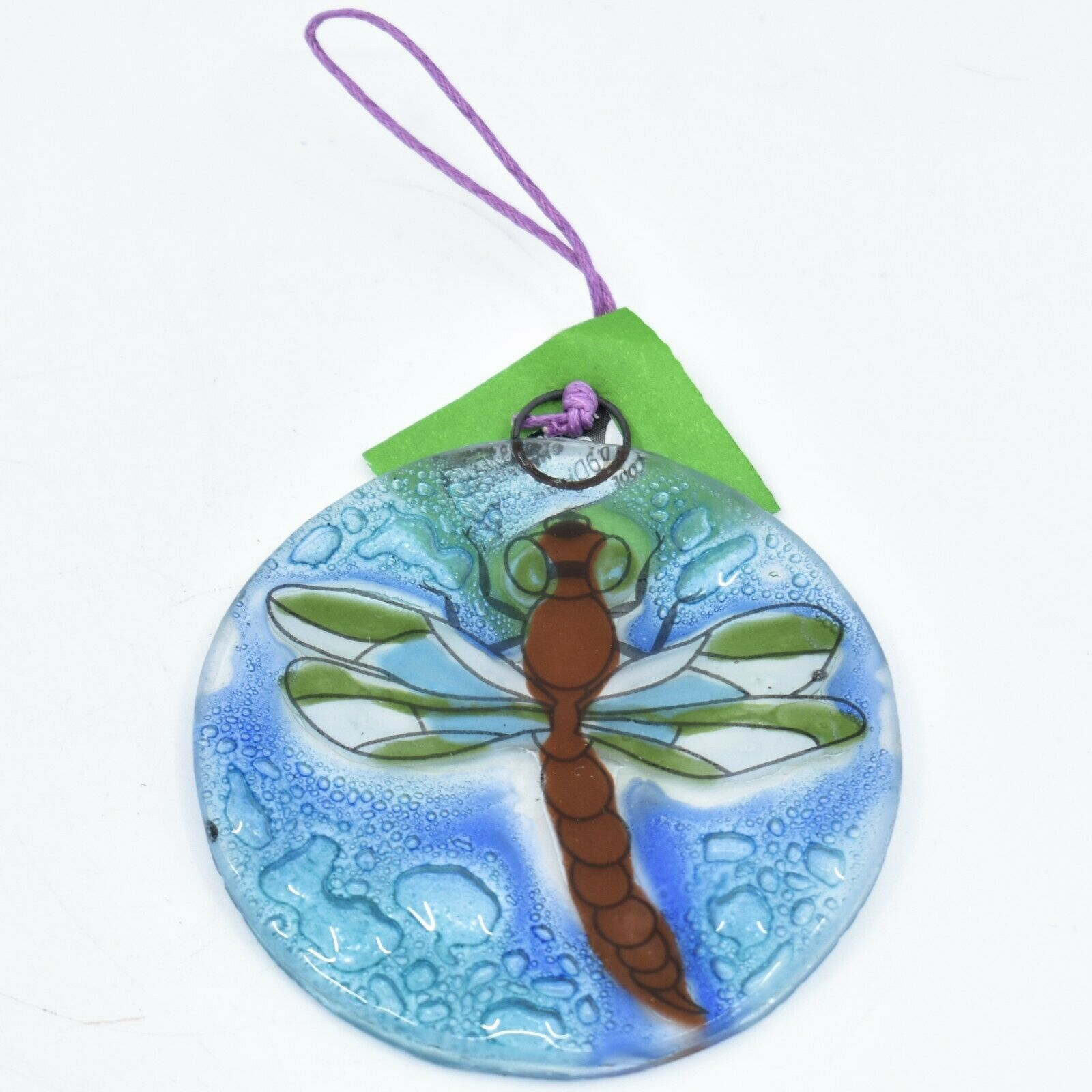 Dragonfly Insect Fused Art Glass Ornament Sun Catcher Handmade Ecuador