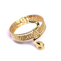18K ROSE GOLD MAGICWIRE MULTI WIRES RING, ELASTIC WORKED SNAKE, WHITE TOPAZ image 3