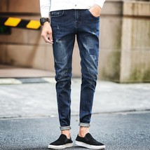 The New Men's Fashion Casual Boutique Pure Color Slim Patch Jeans - $35.70