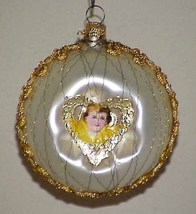 Vintage Glass Christmas Tree Ornament Scrap Angel Yellow - $10.00