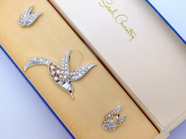 Vintage Sarah Coventry AB Rhinestone  Brooch Earrings Set BIRD OF PARADI... - $29.95
