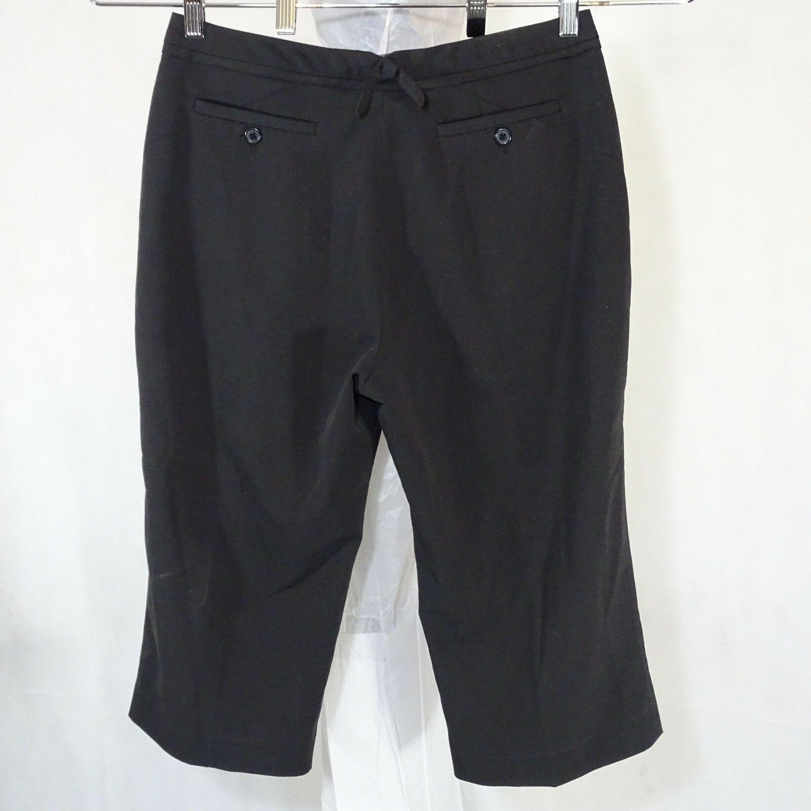 Larry Levine Capri Pants Women Size 8 Black Career Work Wear Casual Stretch