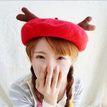 Kawaii Clothing Cute Harajuku Hat Deer Antlers Horns Beret Beanie Animal Ulzzang - $14.67