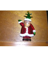 Vintage Thick Lucite Plastic SANTA CLAUS w Christmas Tree Hat Christmas ... - $8.59