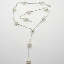 18K WHITE GOLD LARIAT NECKLACE, VENETIAN CHAIN ALTERNATE WITH WHITE PEARLS 10 MM image 1