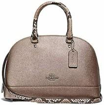 Coach Metallic Exotic Trim Mini Sierra Satchel Handbag Crossbody SV/Plat... - $178.19