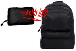 CLEARANCE! SALE! BLACK Travel Backpack FOLDS INTO A POUCH zipper Pocket ... - $6.92